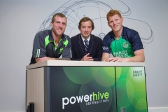 19/08/15. John Mooney  - Irish Cricket all-rounder, Clive Gilmore - CEO Hanley Energy and Kevin O'Brien – Irish Cricket vice-captain and all-rounder pictured at the announcement of the New Irish Cricket Team Sponsors at Hanley Energy HQ. ahead of the Hanley Energy Challenge versus World Champions Australia in Stormont on 27th August. Photo by: Sean Brosnan
