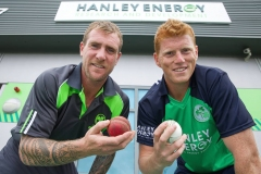 19/08/15. John Mooney  - Irish Cricket all-rounder and Kevin O'Brien – Irish Cricket vice-captain and all-rounder pictured at the announcement of the New Irish Cricket Team Sponsors at Hanley Energy HQ. ahead of the Hanley Energy Challenge versus World Champions Australia in Stormont on 27th August. Photo by: Sean Brosnan