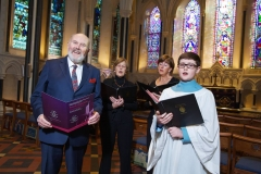 11/03/2014. Carmichael Centre Launches its Flagship Fundraising Event, The Dublin Good Friday Concert in the recently refurbished Lady Chapel in St Patrick's Cathedral. Pictured from left to right: Senator David Norris, Geraldine Hynes, Mairead McNamara from Goethe-Institut Choir and Brad Hennessy from St Patrick's Cathedral Choir School. Picture by Sean Brosnan
